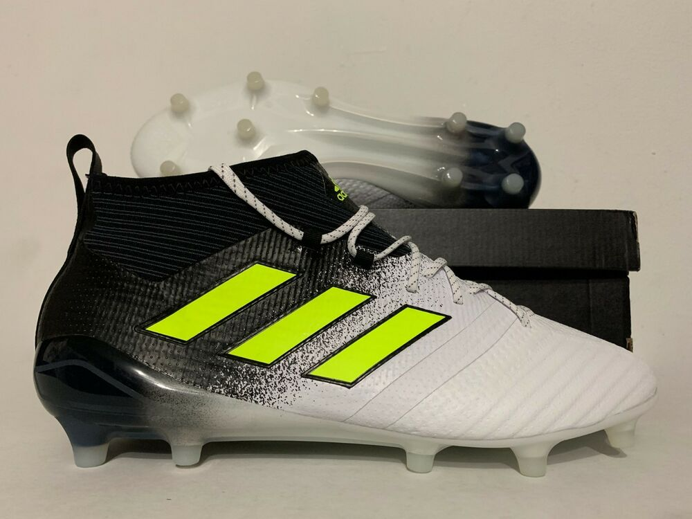new product b1a43 31142 Details about Adidas Ace 17.1 Primeknit FG Soccer Cleats White Solar Yellow  Black SZ  S77035