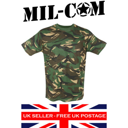 img-Mil-Com DPM Camo T-Shirt British Army Military Camouflage Woodland 100% Cotton