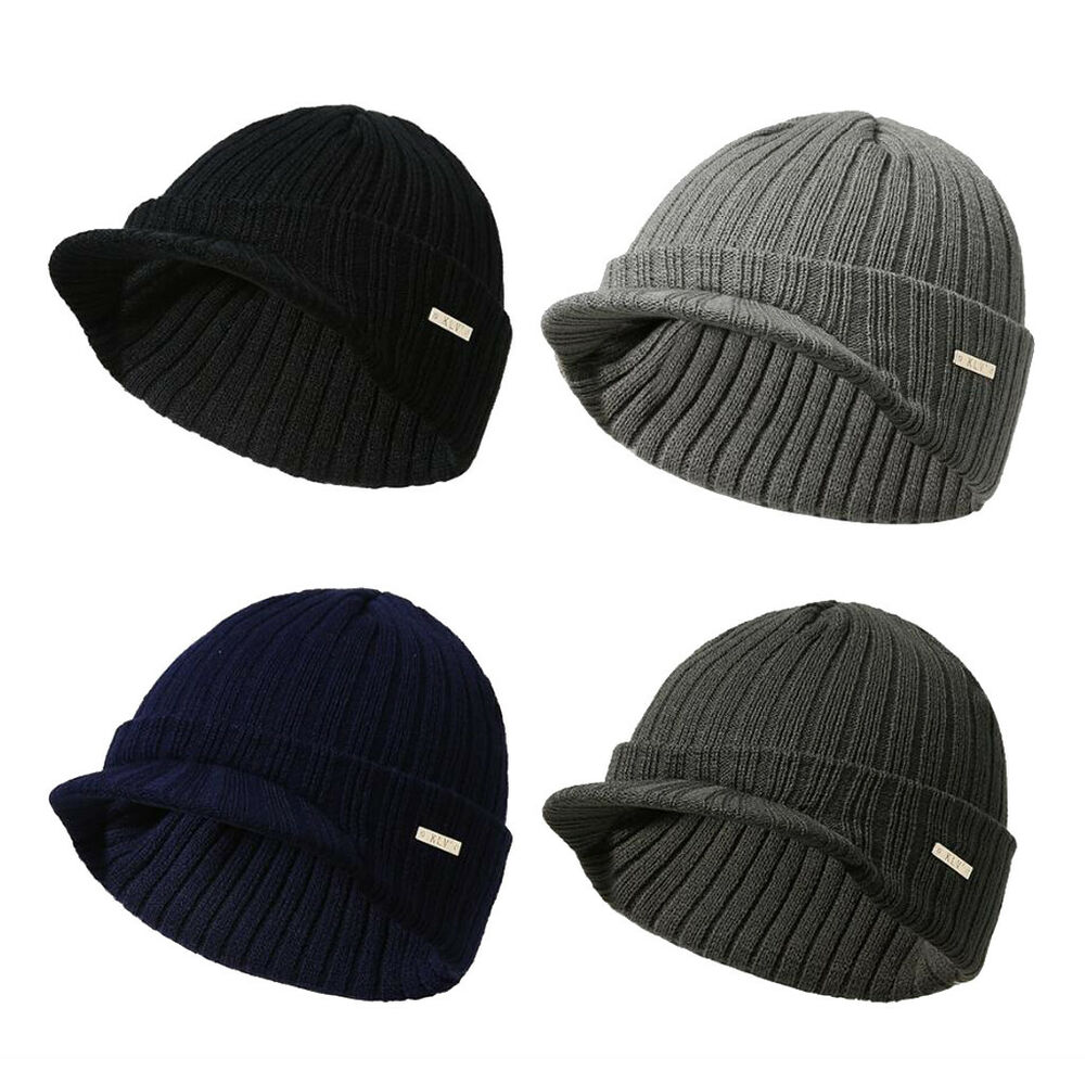 Details about Mens Womens Visor Knit Beanie Cap Ball Ski Hunting Army  Military Winter Hat bcddf60531