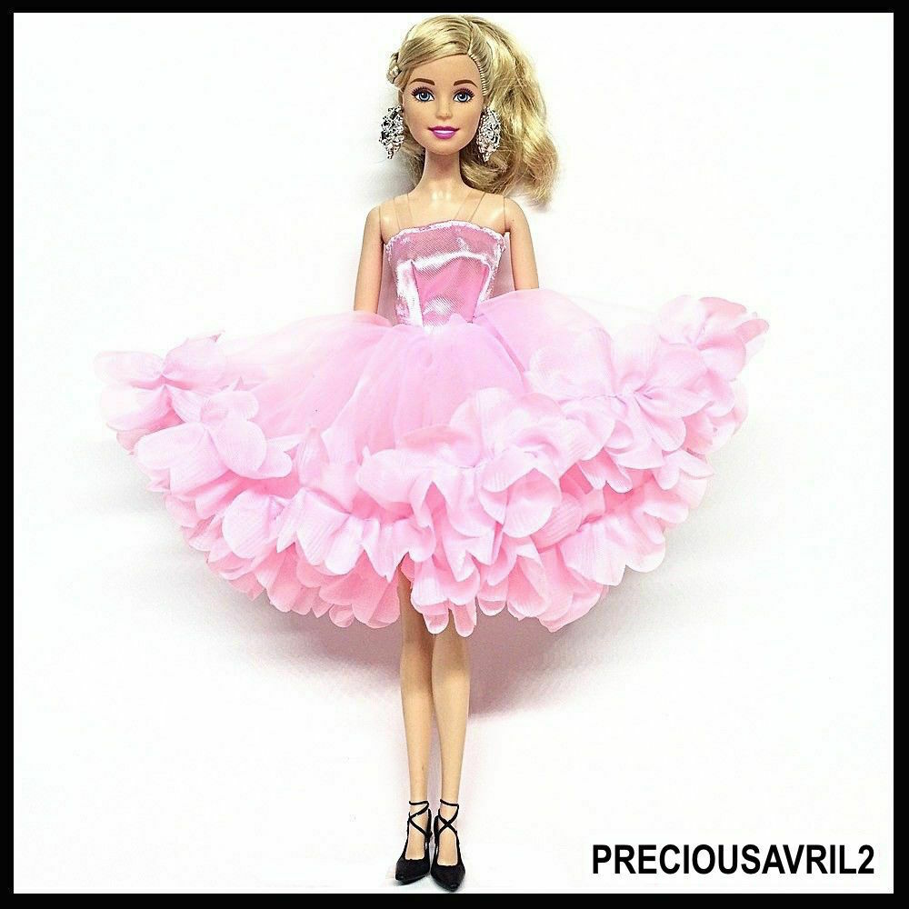 42a04957ef651 Details about New Barbie doll clothes outfit princess wedding dress gown  pink fluffy dress