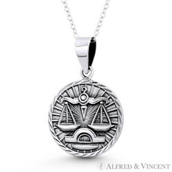 Libra Zodiac Sign ''Balanced Scale'' Necklace Pendant in Solid 925 Sterling Silver