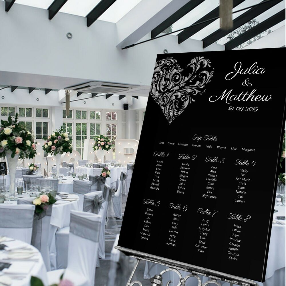 Details About Personalised Wedding Table Seating Plan Sign Heart Black