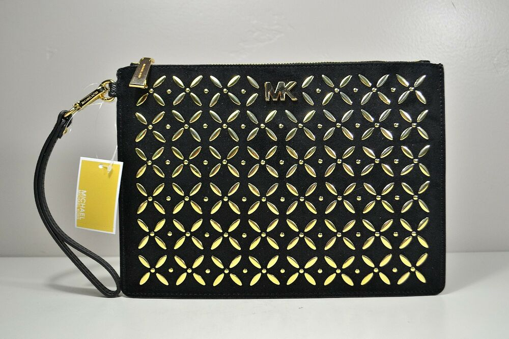 98cf2766ceeb1 Details about NWT MICHAEL KORS BLACK LEATHER MEDIUM ZIP POUCH CLUTCH  WRISTLET 32H8GF9P2S