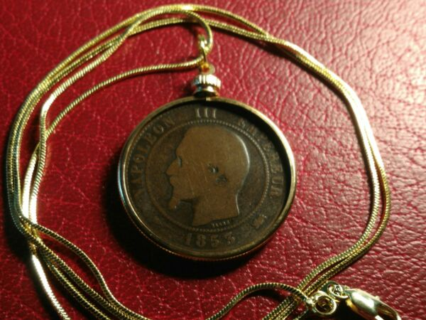 1853 France Napoleon III French Centimes Pendant &  26