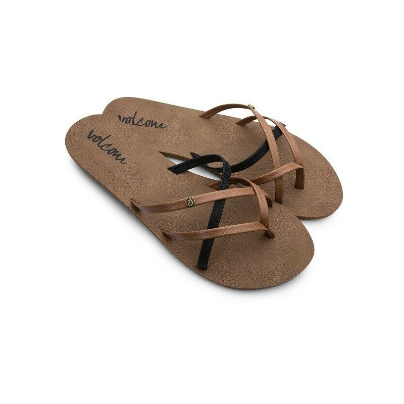 2c79e18e469cb3 Details about Volcom Ladies New School Sandals Womens Flip-Flops Straps  Faux Leather Brown