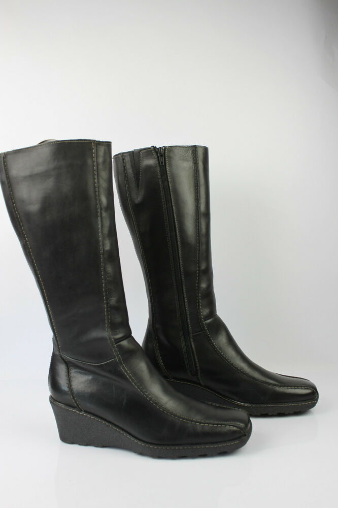 77fddbb4ea2a Details about Boots Wedge Heels STUDIO K Leather Black T 41 VERY GOOD  CONDITION