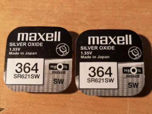 2 x Maxell SR364SW SR621  1.55v Silver Oxide Watch Coin Batteries.  free p&p.
