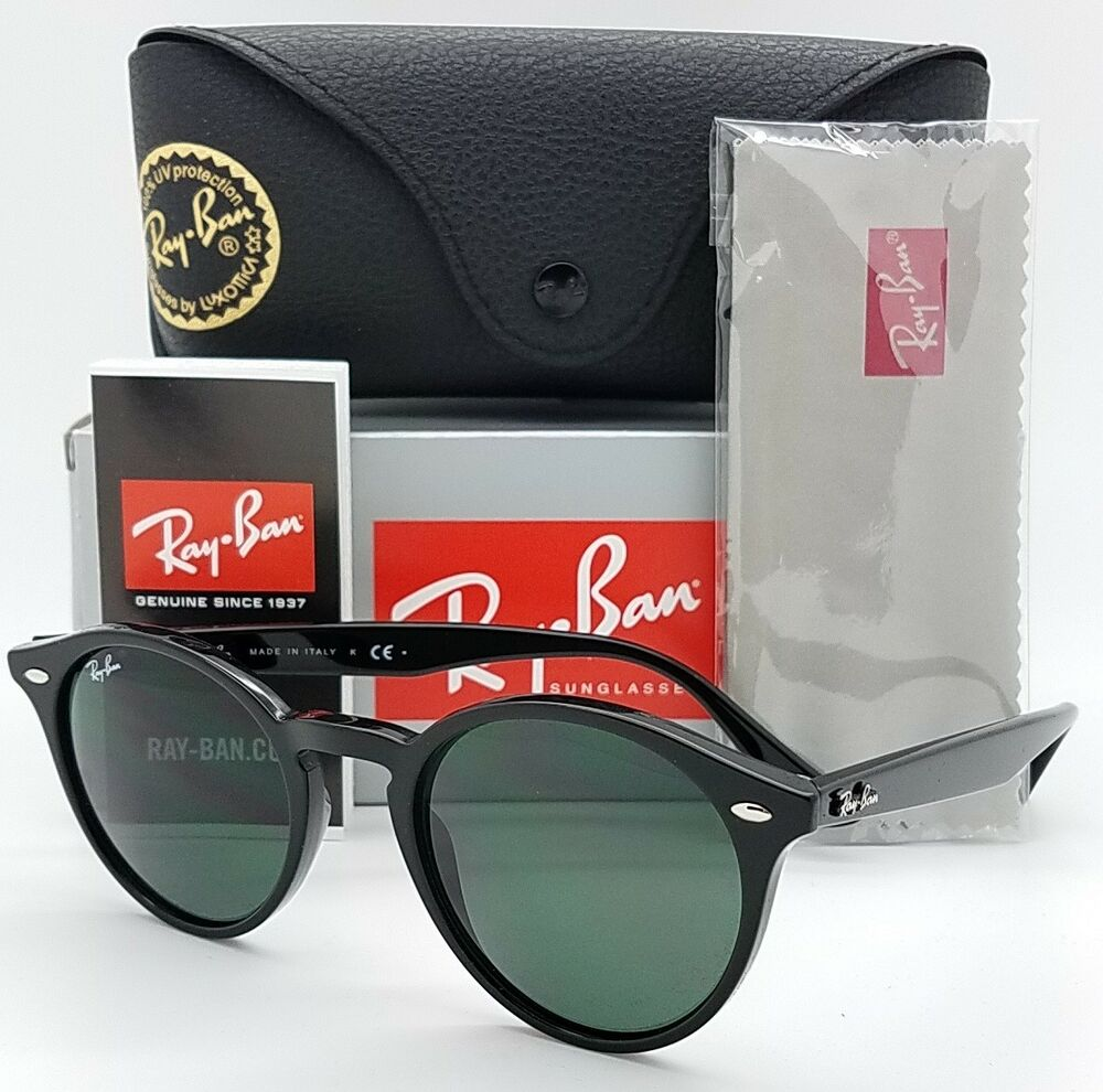 fbdce770f25 Details about NEW Rayban Sunglasses RB2180 601 71 49mm Black G15 Small  Round AUTHENTIC RB 2180