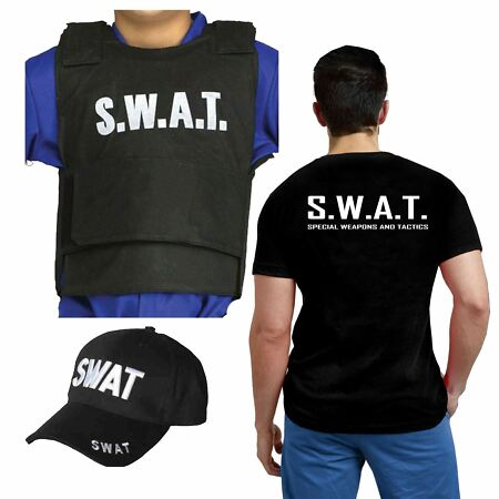img-MEN'S BOYS FANCY DRESS SWAT T-SHIRTS HAT VEST SPECIAL WEAPONS & TACTICS POLICE