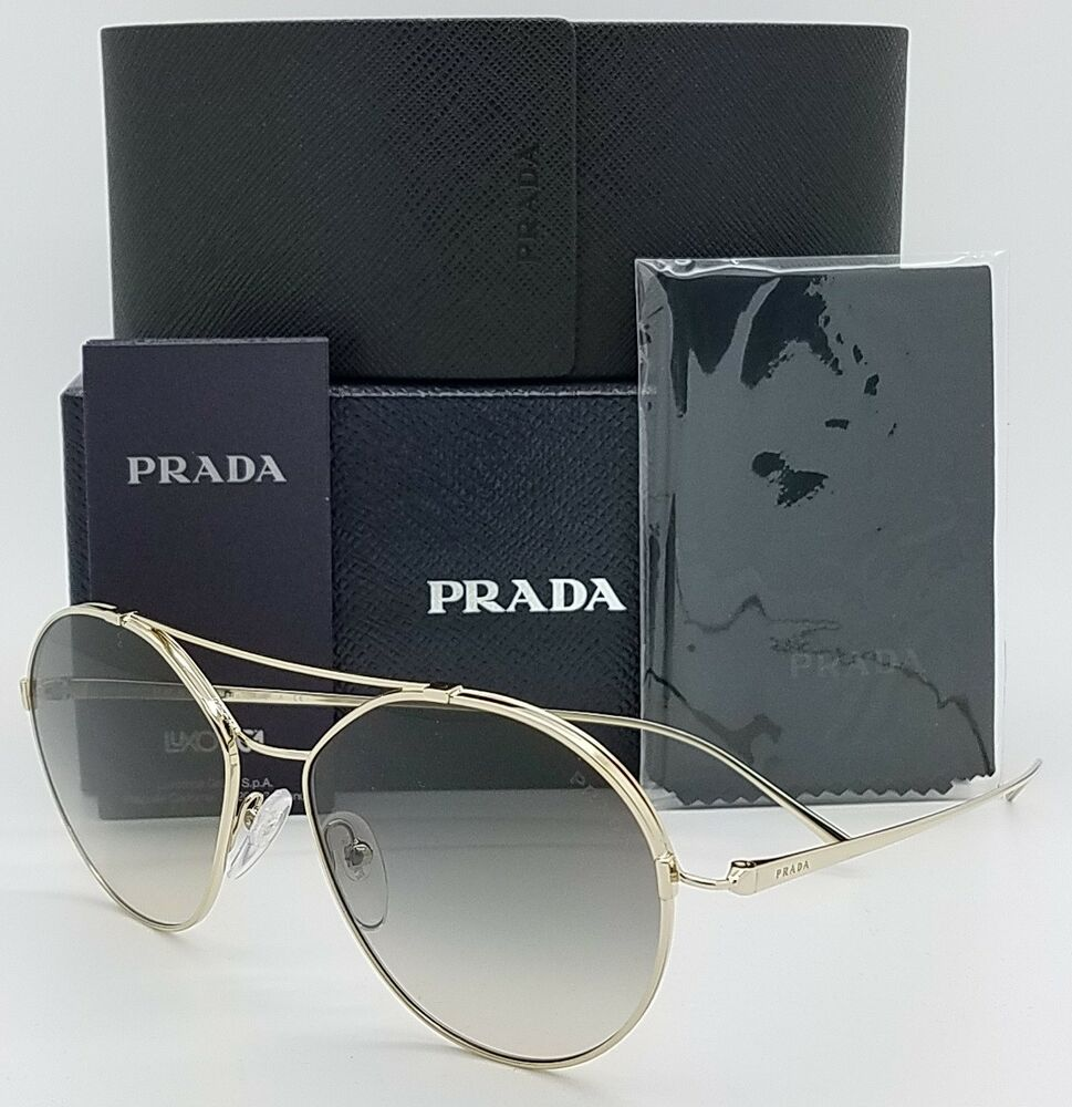 febf3a5dfdff Details about New Prada sunglasses PR56US ZVN130 55 Gold Grey Gradient Round  AUTHENTIC PR 56