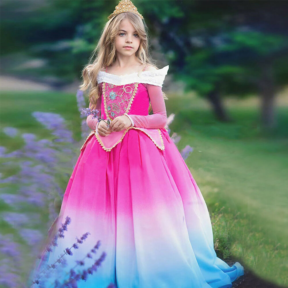 7593247c42b Details about Girls Sleeping Beauty Costume Aurora Princess Party Gowns  Fancy Dress up Clothes