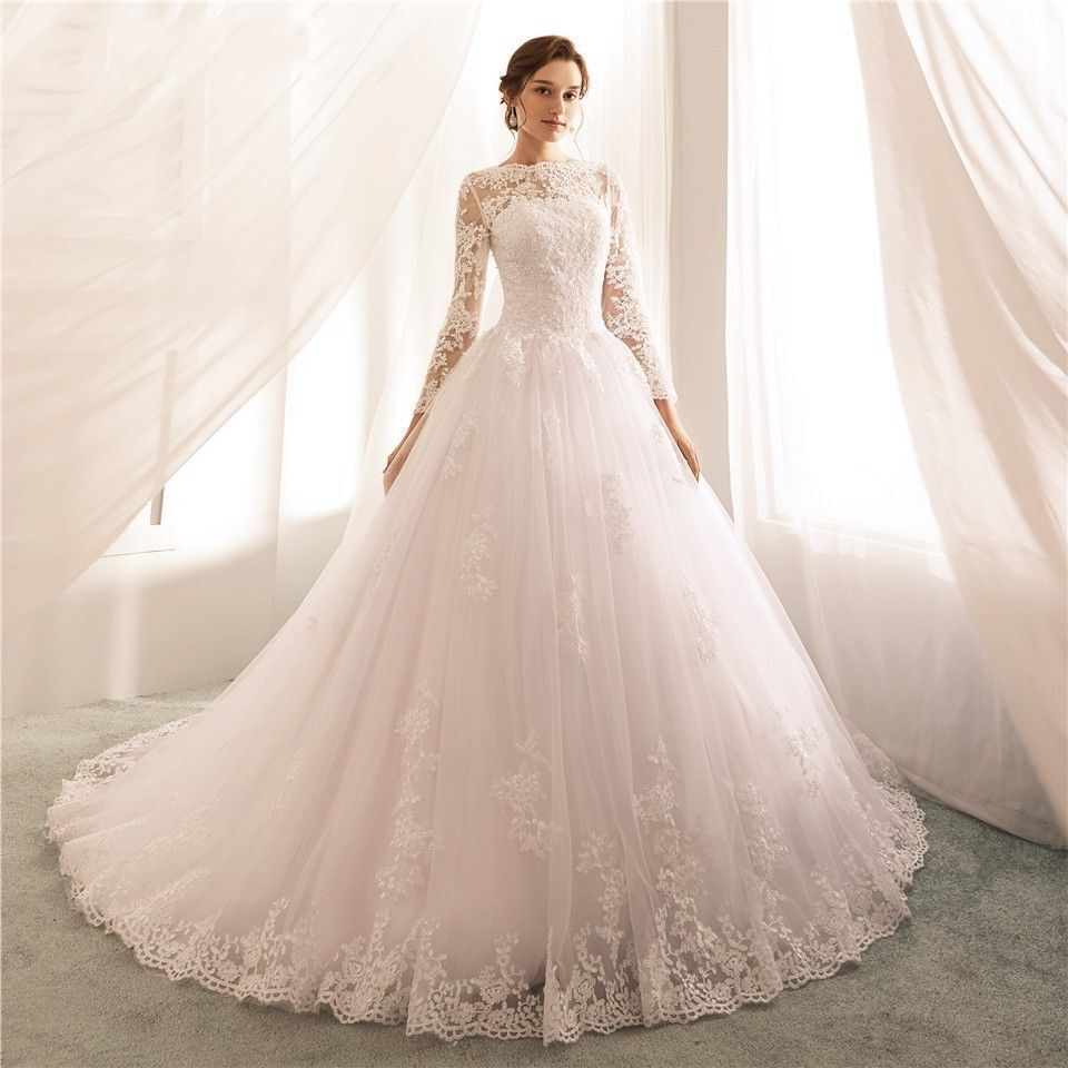 2019 Princess Long Sleeve Lace Wedding Dresses Boat Neck