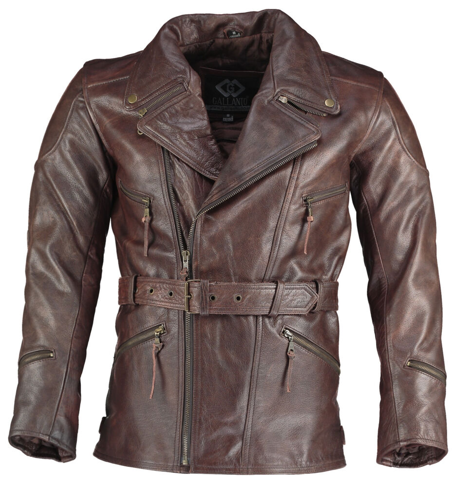 71dd1e2e62b Eddie Mens 3 4 Motorcycle Long Biker Dark Brown Vintage Leather Jackets  Cross