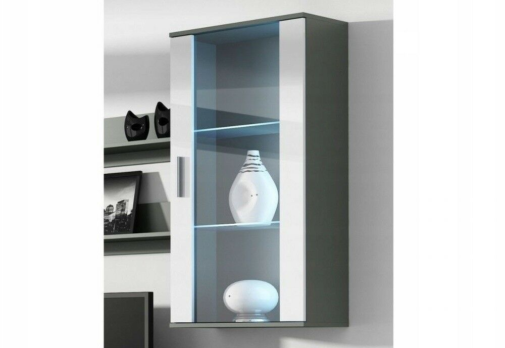 Details About Soho S 2 Wall Hanging Cabinet Modern High Gloss Fronts Gl Led Shelves Display