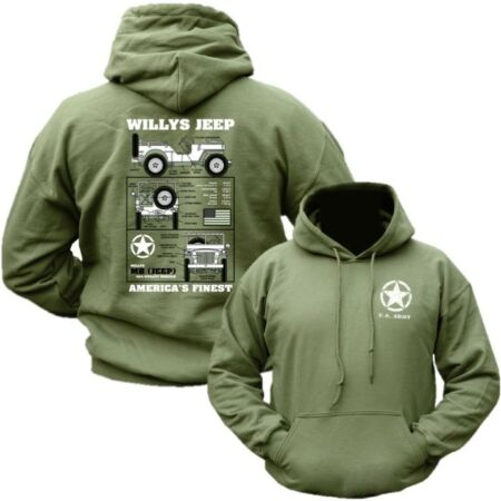 img-WILLYS JEEP HOODIE MENS S-2XL VETERAN BRITISH US ARMY WW1 WW2 AMERICAS FINEST