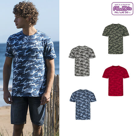 img-AWDis Just Ts & Polos Camo T-Shirt JT034 - Men's Army Camouflage Cotton Tee Top
