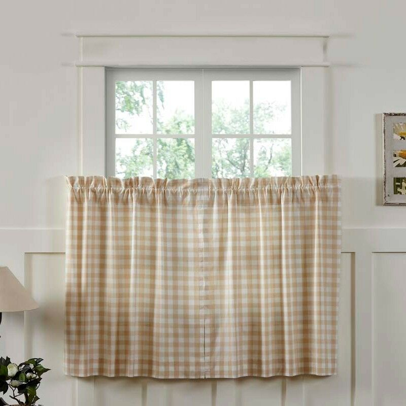 Details About New Country Cottage Chic Farmhouse White Tan Buffalo Check Tiers Curtains 24