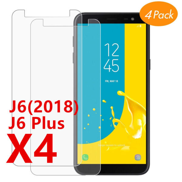 Film protection écran Galaxy Samsung J6 J6 Plus 2018 vitre verre trempé LOT1/4