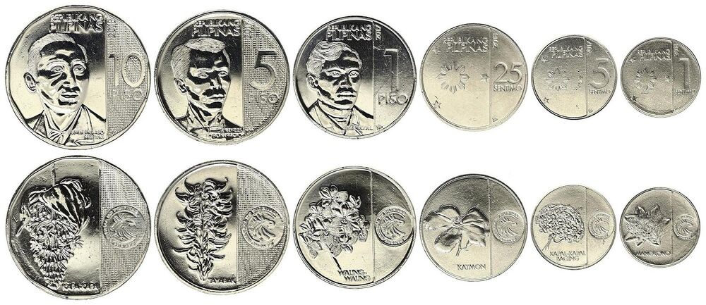PHILIPPINES COMPLETE NEW COIN SET 1+5+25 Sentimo 1+5+10