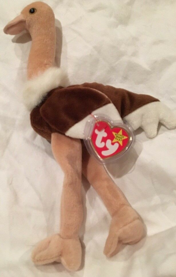 """90d3b986bf6 Details about Ty Beanie Babies """"Stretch"""" The Ostrich Bird Plush MINT w MINT  TAGS Protector! 97"""