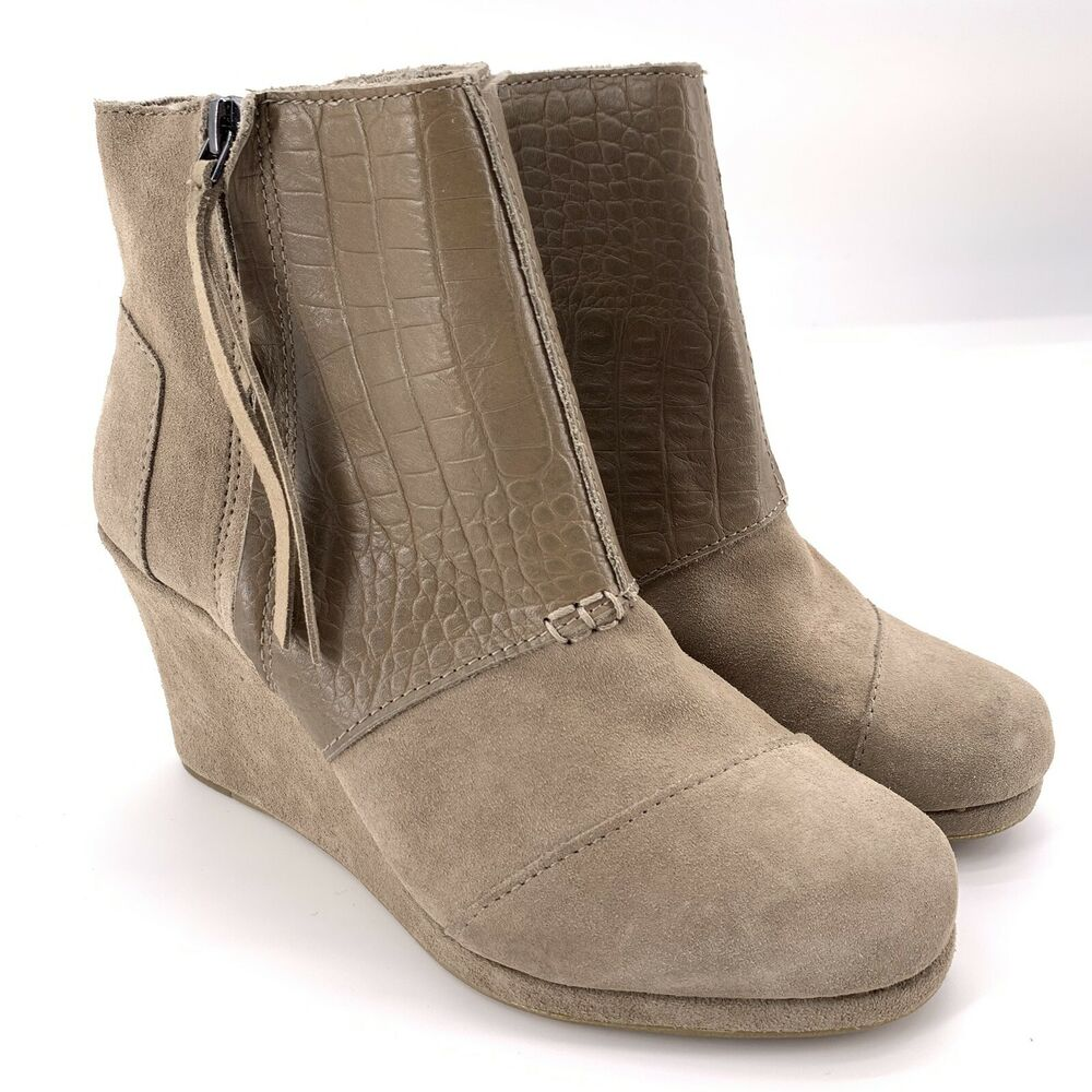 9b6b339f491d Details about Toms Women s Desert Wedge High Taupe Suede Croc Embossed  Ankle Bootie