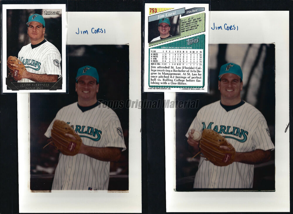 34954e74e14 Details about Jim Corsi 1993 Topps Original Extra Photos 5x8 Vault Florida  Marlins PICK