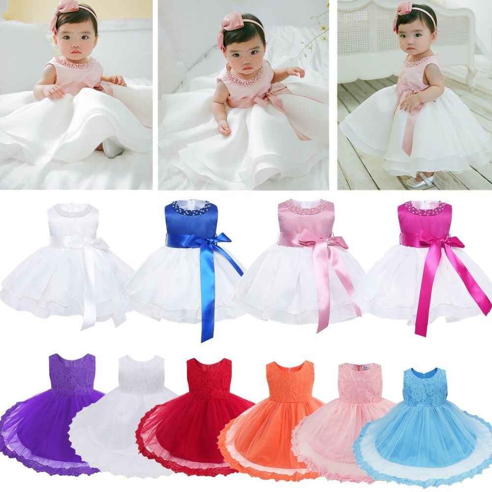 b5ac729d6 Details about Infant Baby Girl Lace Tutu Flower Dress Pageant Party  Birthday Wedding Princess