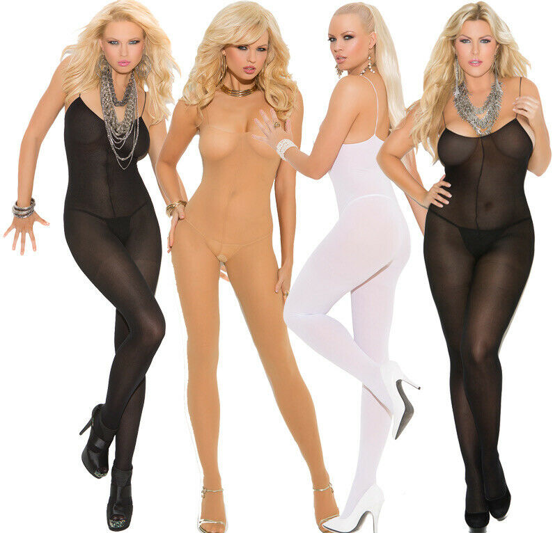 51b0c86cb Details about Elegant Moments Opaque Open Crotch Bodystocking With  Spaghetti Straps