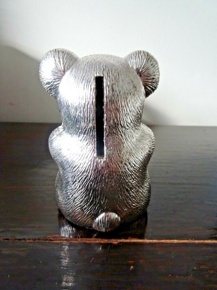 Details about SILVER PLATED MONEY BOX BEAR BANK WITH STOPPER CHRISTENING GIFT