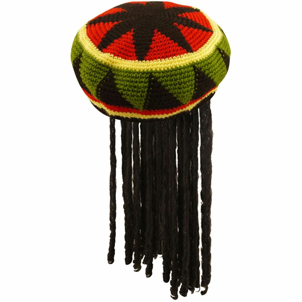 d3562b34264 Details about ADULT JAMAICAN RASTA HAT BOB MARLEY KNITTED CAP WIG DREAD  LOCKS CARIBBEAN FANCY