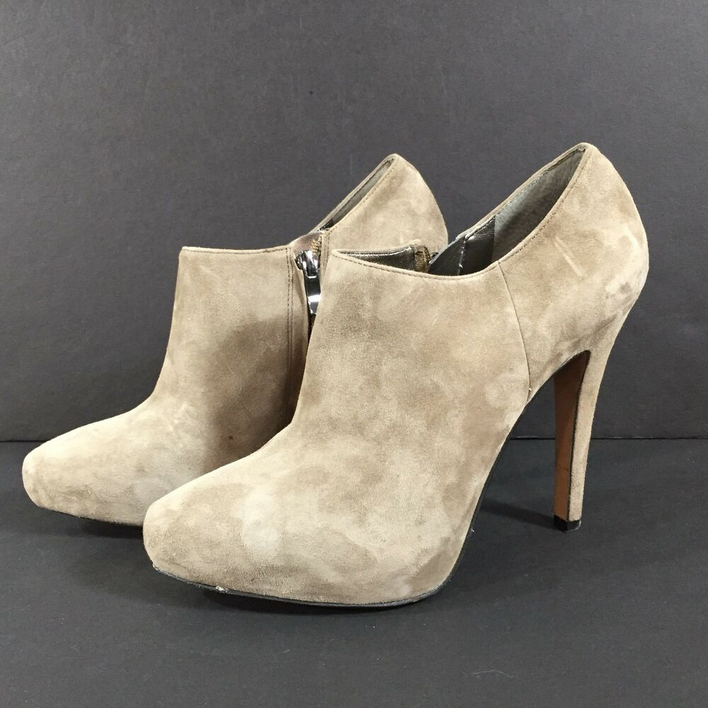 5ff49a6aadbe7f Details about SAM EDELMAN RIA Booties Suede Leather Putty Taupe Side Zip  Heel Ankle Boot 9 M
