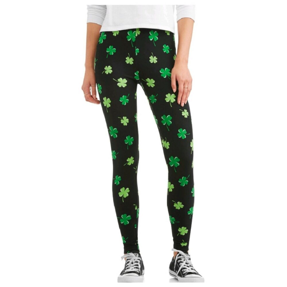 d8ffa9dea0fcf6 Details about St Patricks Day Shamrock Leggings XL Womens Jersey Sueded  Clover Footless NWT