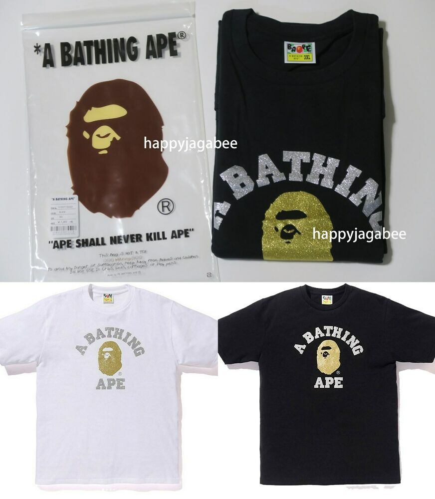 a97efa8db (S-3XL) A BATHING APE Men's GLITTER COLLEGE TEE 2colors From Japan New |  eBay