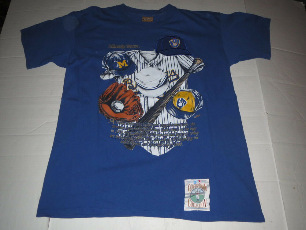 0ac00b688 Details about Vtg 1990's Milwaukee Brewers Nutmeg Brand MLB T-shirt Large