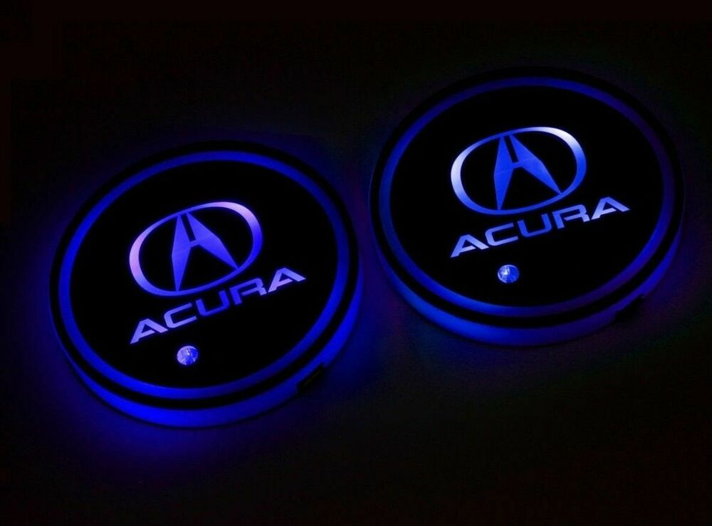 2xColorful LED Car Cup Holder Pad Mat for HUMMER Auto Interior Atmosphere Lights