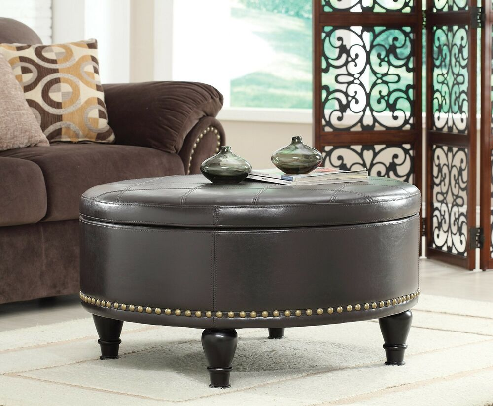Details About Leather Storage Ottoman Round Footstool Coffee Table  Furniture Bench Seat Stool