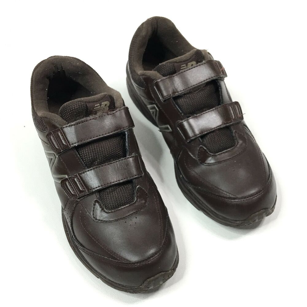 c1097e6e8c3 Details about New Balance 411 Mens Leather Walking Shoes Hook   Loop Brown  MW411HBR Size 9 D