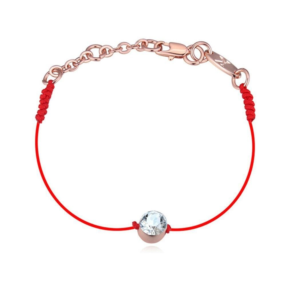 Details about Made With Clear White Swarovski Crystal Stone Red Thread Rope  Bracelet Bangle f9c6f0f56