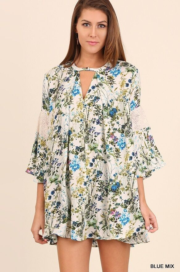 855f14da5377 Details about NWT Umgee Anthropologie Blue Floral Bell Sleeve w/ Lace Detail  Boho Dress SZ S