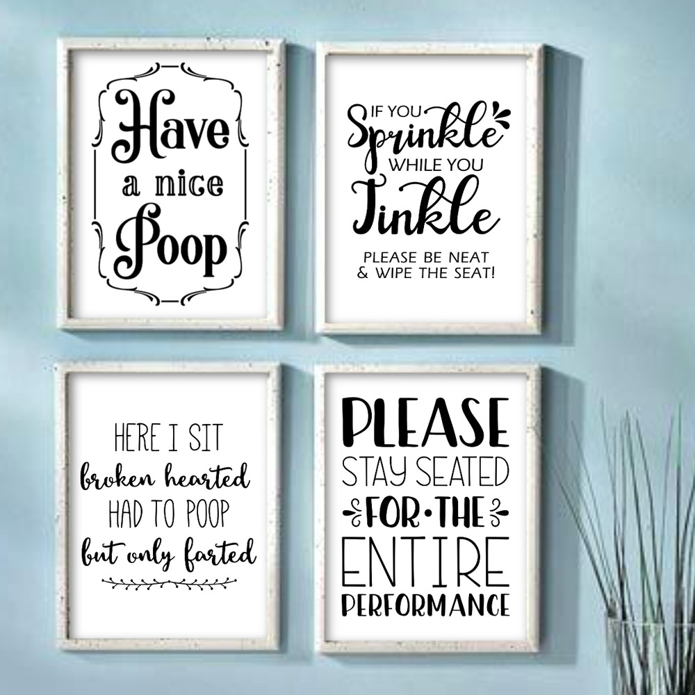 Funny Bathroom Wall Art Prints Farmhouse Decor Quotes ...
