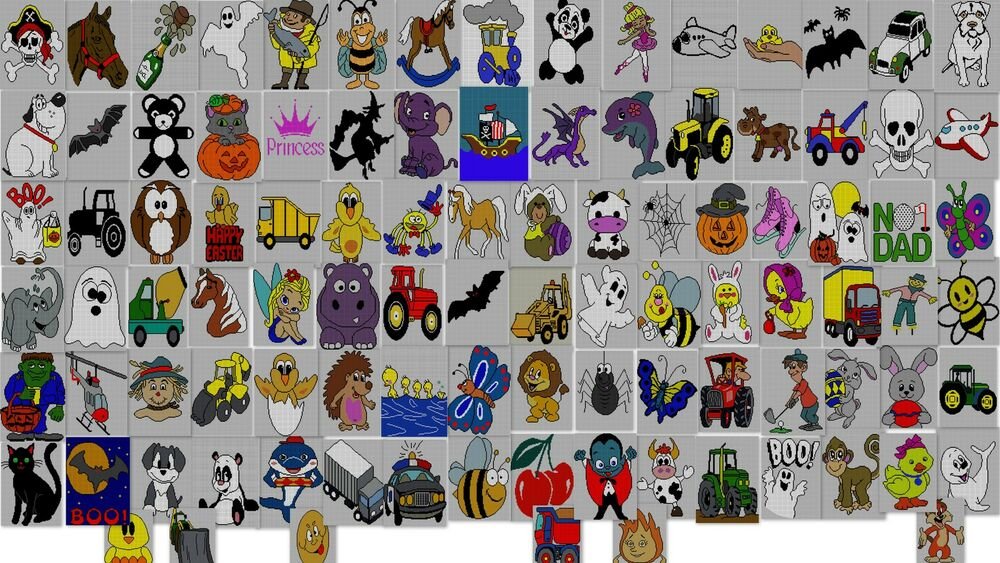 100 X Childrens Adults Character Jumper Knitting Patterns On Disc