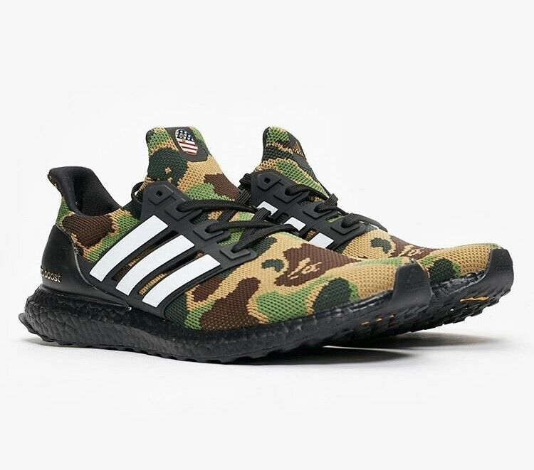 6b0f776b55f Details about BAPE X Adidas Ultra Boost Green Camo Men s US Size 10.5 DS -  100% Authentic