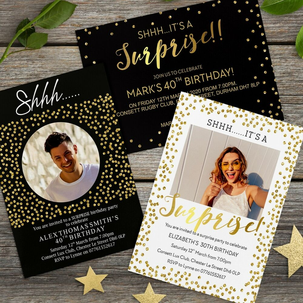 Details About Surprise 18th 21st 30th 40th 50th 60th Birthday Invitations Personalised Invites