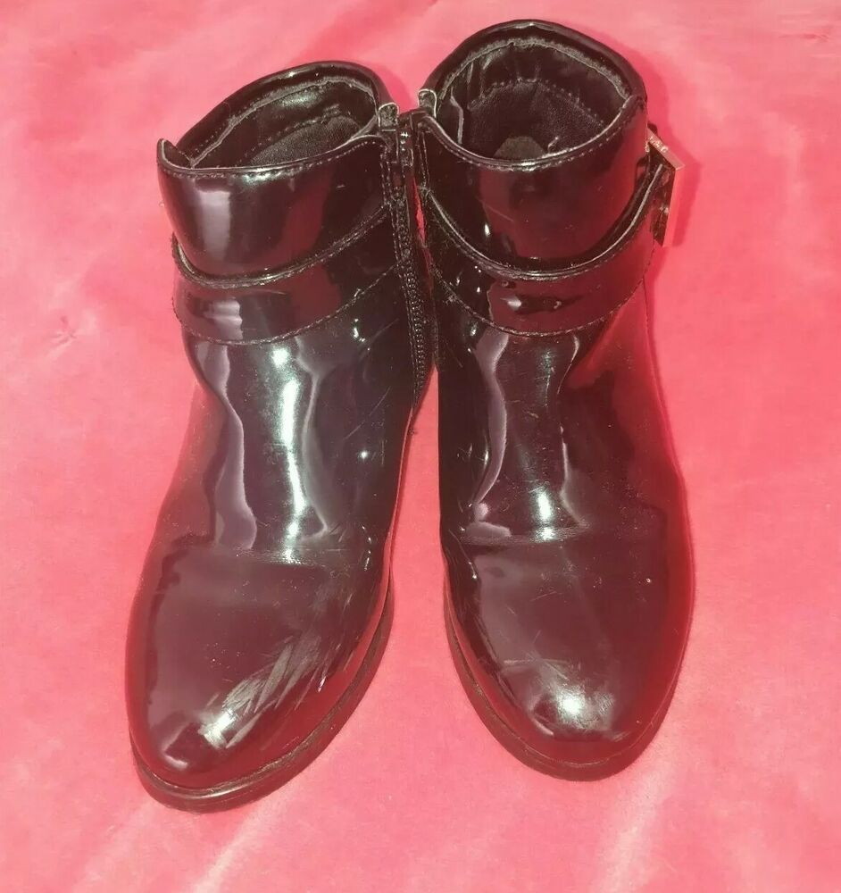 50ab7618495f Details about Girls Ted Baker Black Patent Leather Ankle Boots UK Size  10 28 EUR