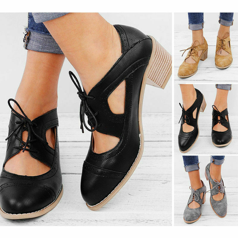 d7a1a26e642 Details about Women Casual Lace Up Low Heel Loafers Cut Out Block Pointed  Toe Shoes Size 6.5-9