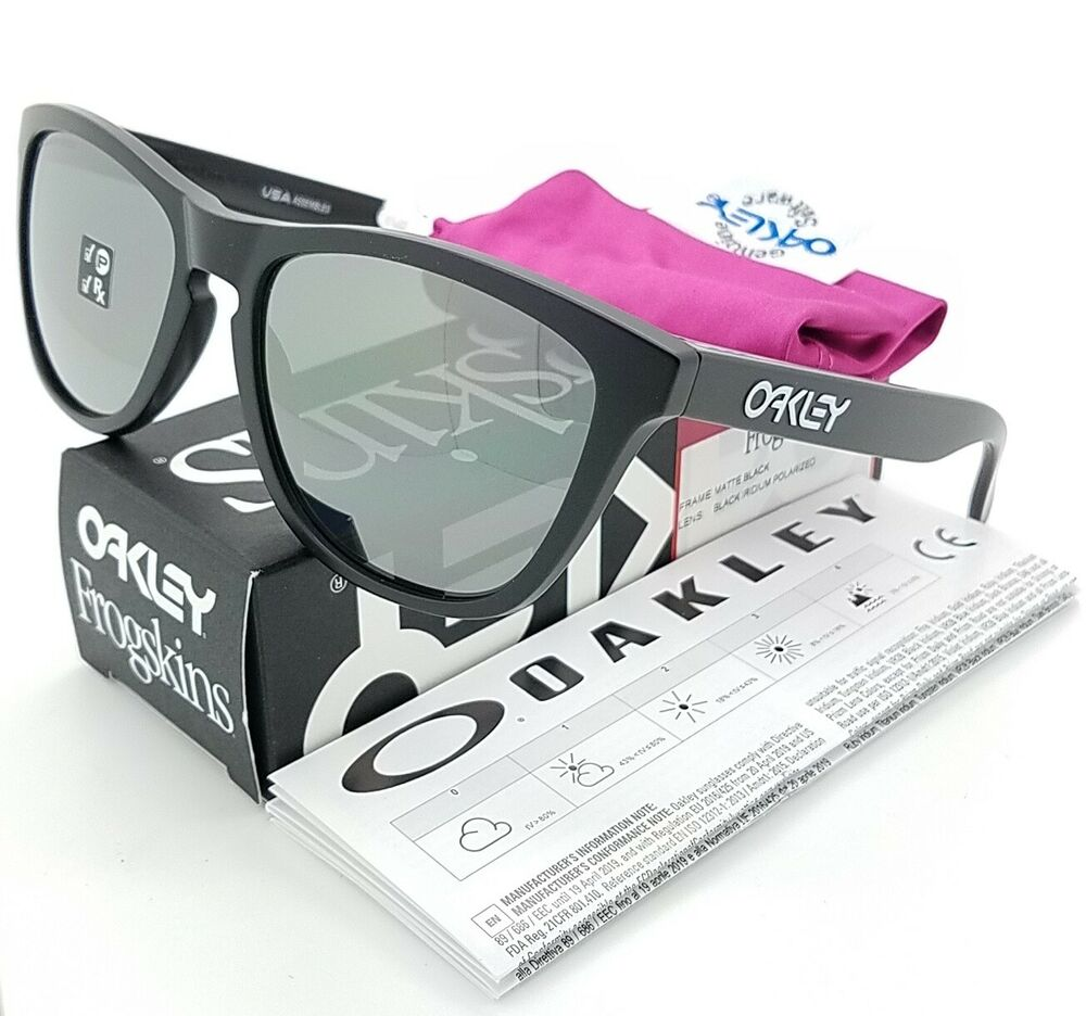 e563a16e51b3a Details about NEW Oakley Frogskins sunglasses Black Iridium Polarized 24-297  AUTHENTIC 9013