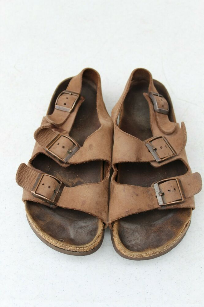 ffb71a5f78d Details about Birkenstock Betula Brown Leather Sandals Ankle Strap Milano  Buckle Women 7