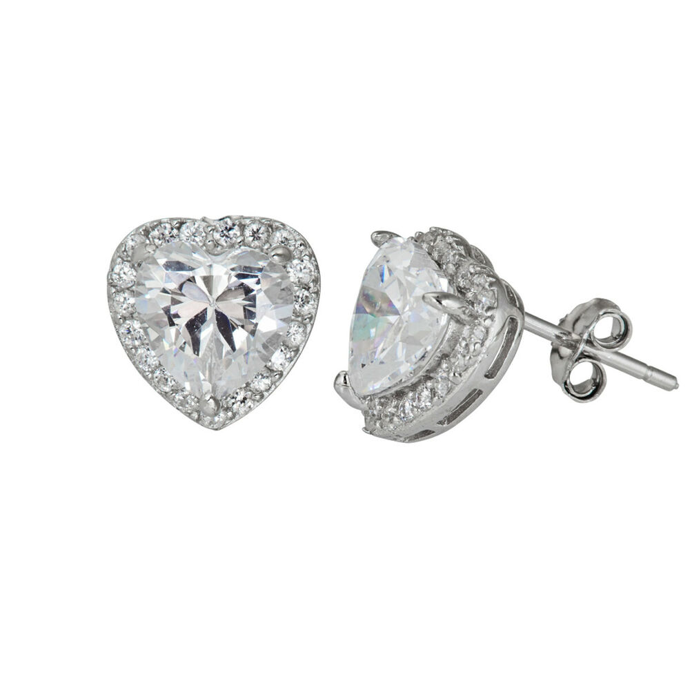 ddb370835 Details about LADIES HALO 925 STERLING SILVER CZ ROUND CZ PAVE SOLITAIRE  PRONG STUD EARRINGS