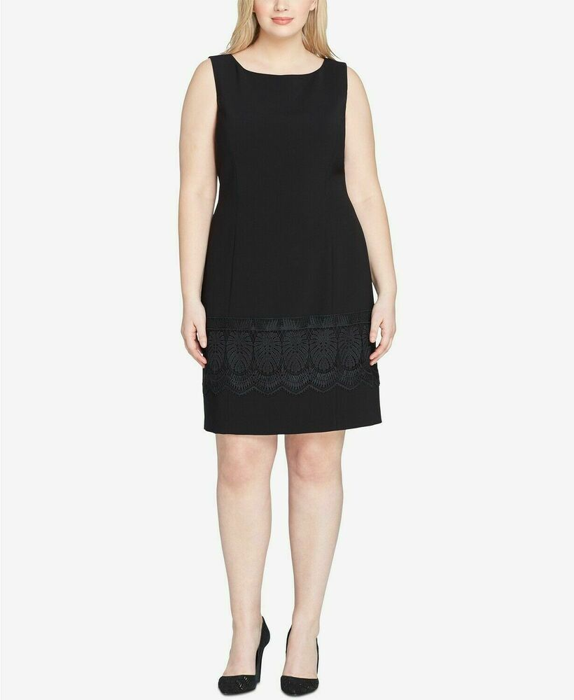 18efb0769308 Details about $420 TAHARI ASL WOMEN'S BLACK SLEEVELESS SCOOP NECK CROCHET  HEM DRESS SIZE 18W