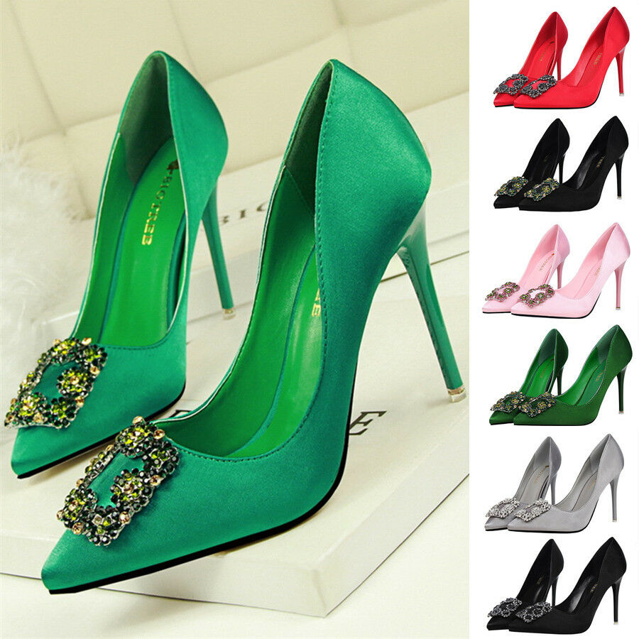 2a72707c5a87 Details about Sexy Women Satin Crystal Stiletto Pointed Toe Shoes Women  High Heels Pumps Shoes